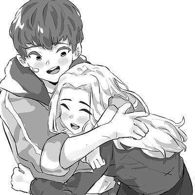 Ahmx jendro justinsloan commission boy and girl hugg1