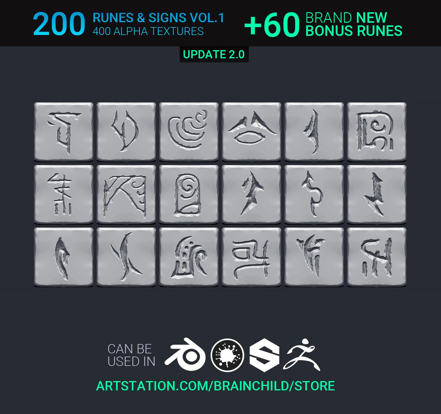 Buy it here  https://artstn.co/m/92kL | VOL.1 – 260 Runes/Symbols/Signs/Shapes (520 Alpha Textures)