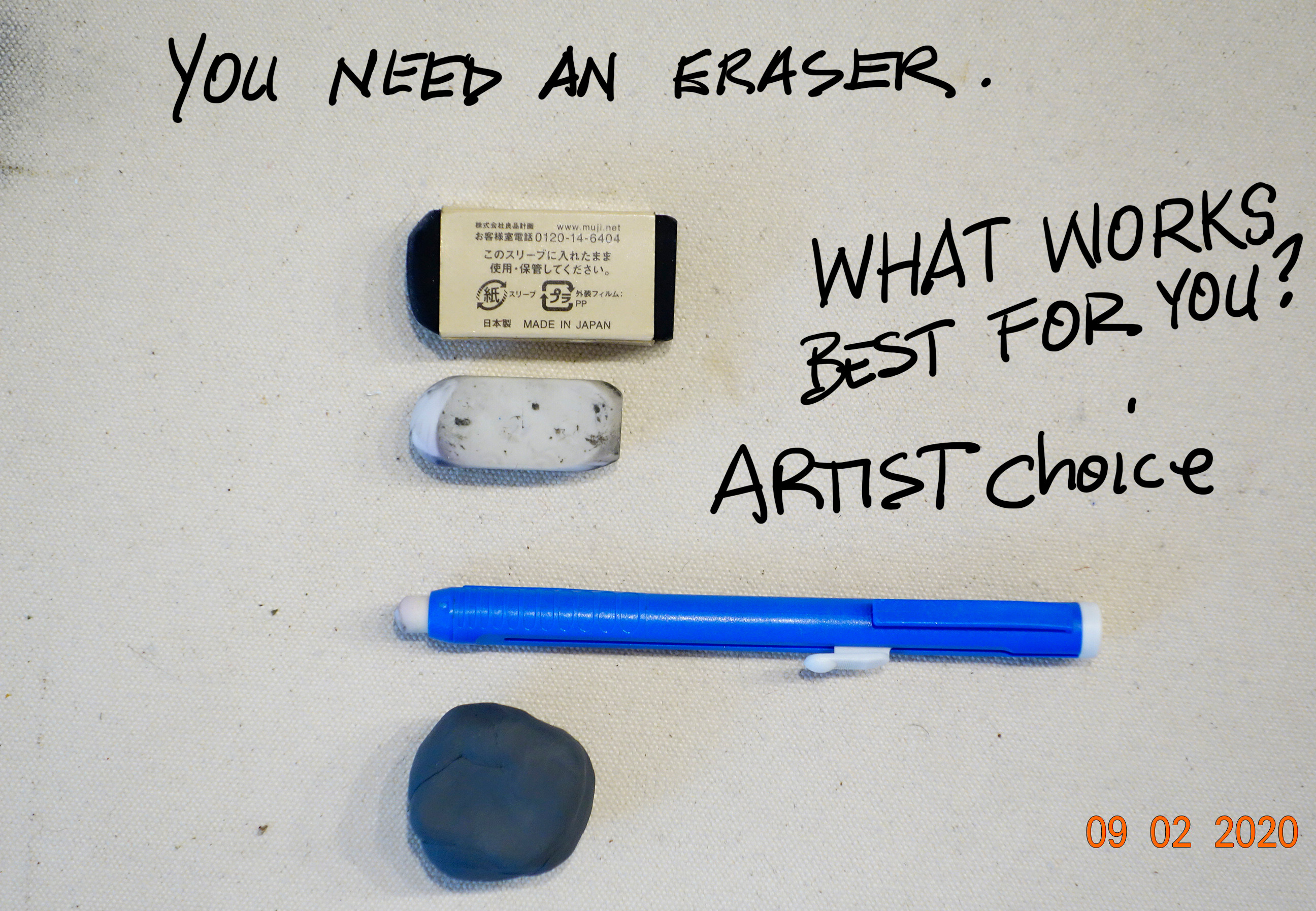 Get an eraser that works for you. I like the rubber kind and the eraser tubes that go in holders for detailed and tights spots. You are the artist you decide.