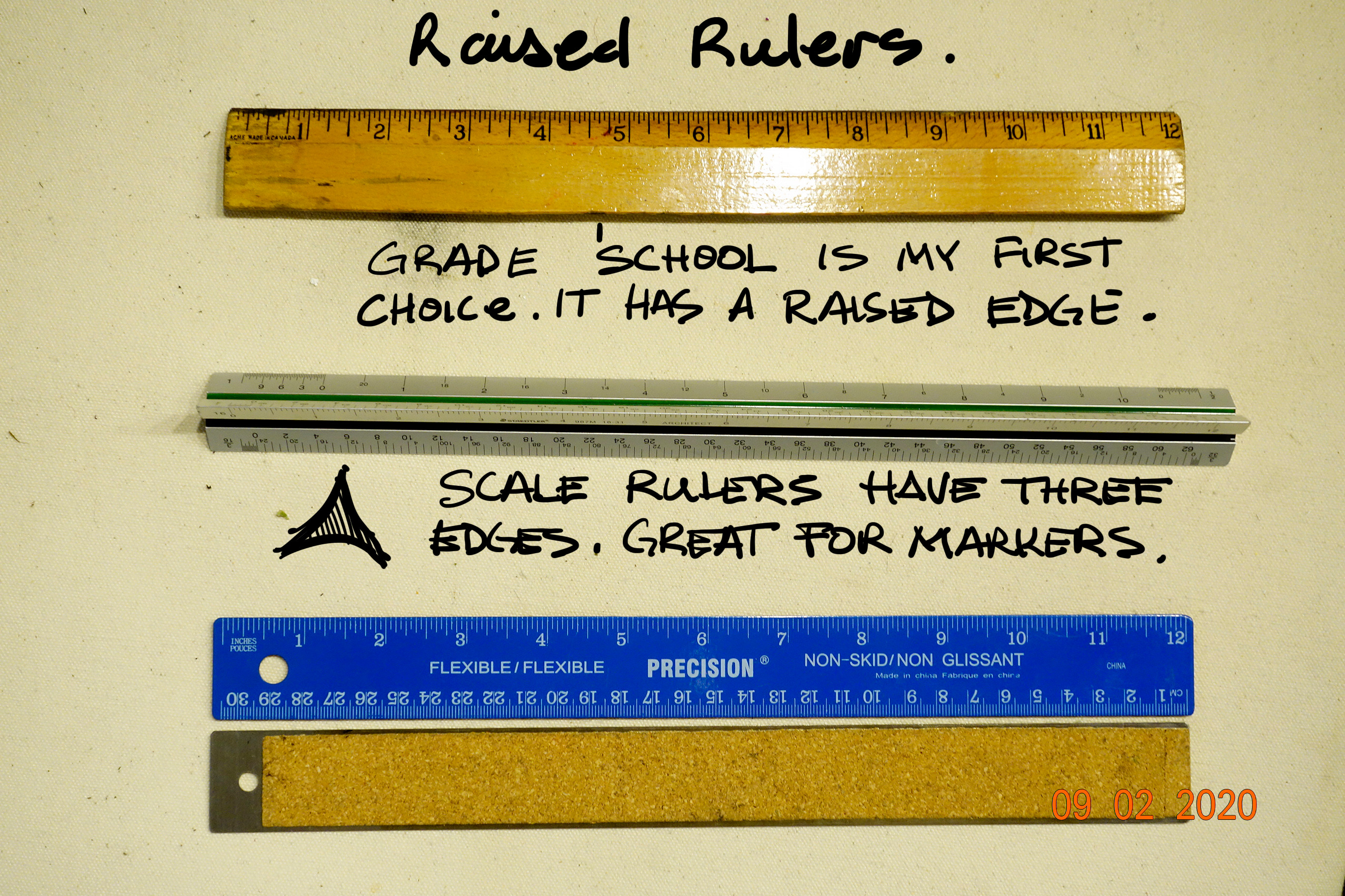 We use rulers for more than just measuring. I prefer a grade school ruler because of it's feel in my hands. When I want to draw a straight line with a brush, a shaped ruler that is raised acts as a great bridge for detailing with a brush.