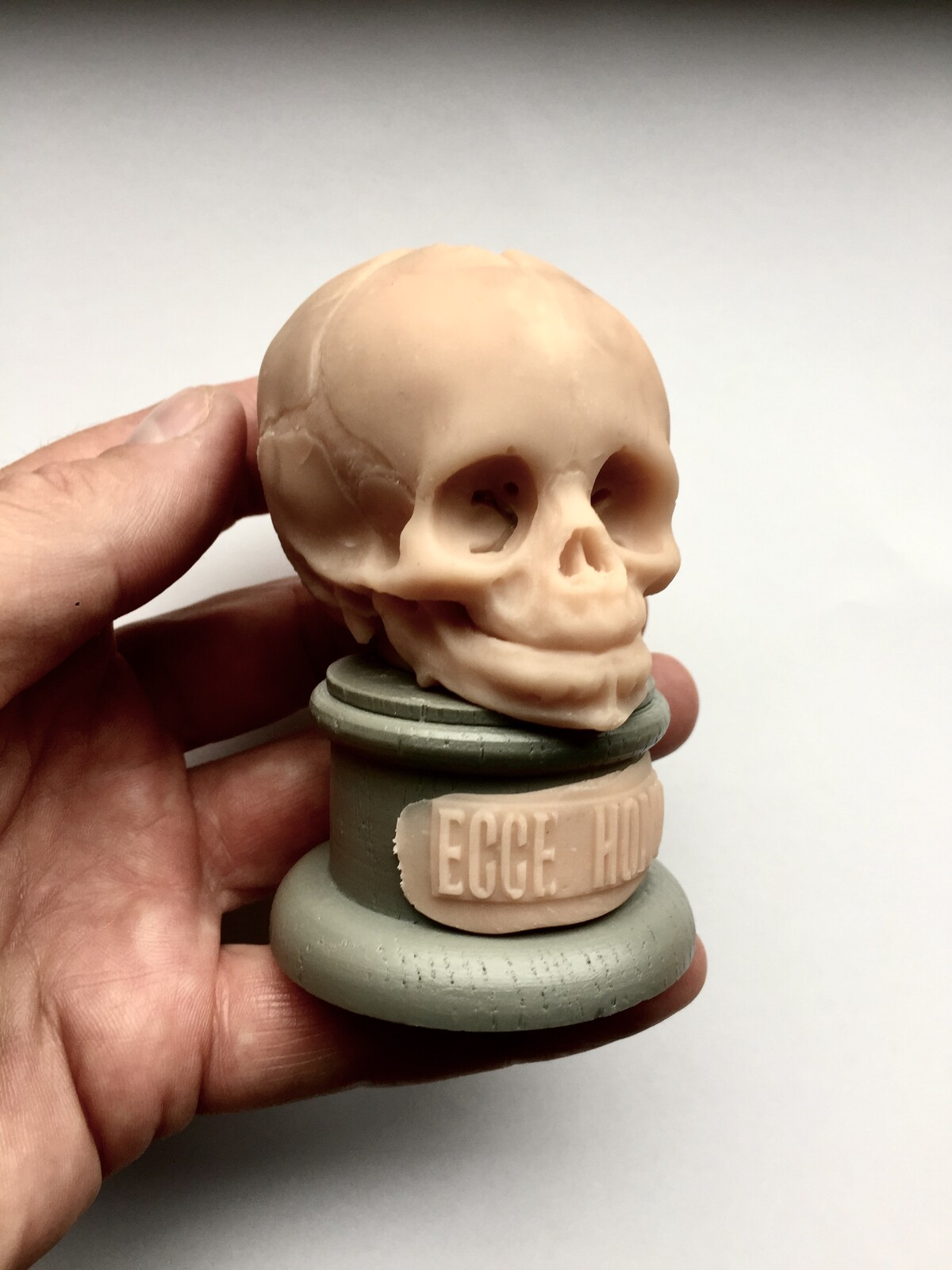 Child skull made in polymer clay.