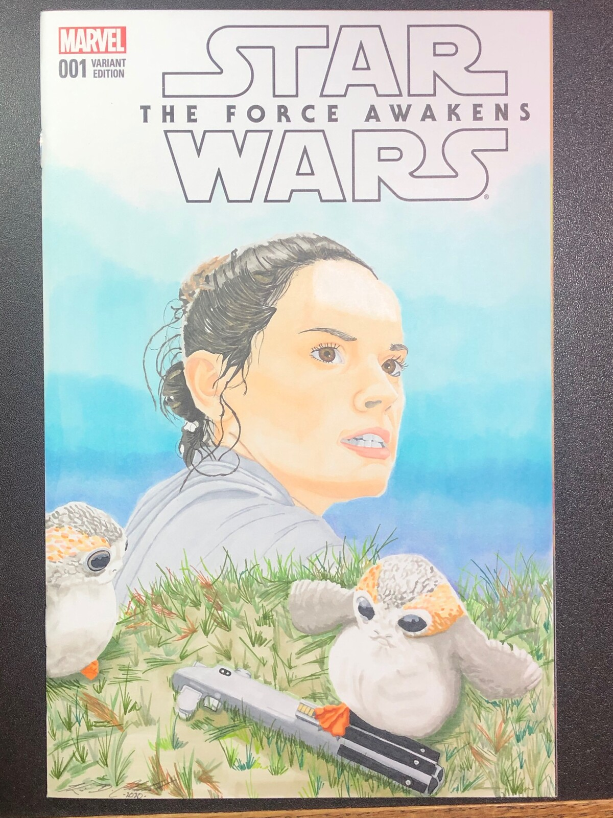 Comic cover art commission - Rey and Porgs