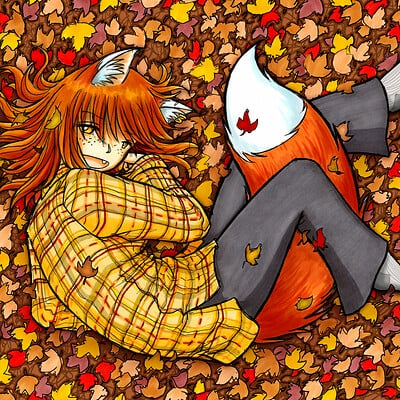 Fred gallagher warm foxgirl cuddling in leaves by fredrin d833448