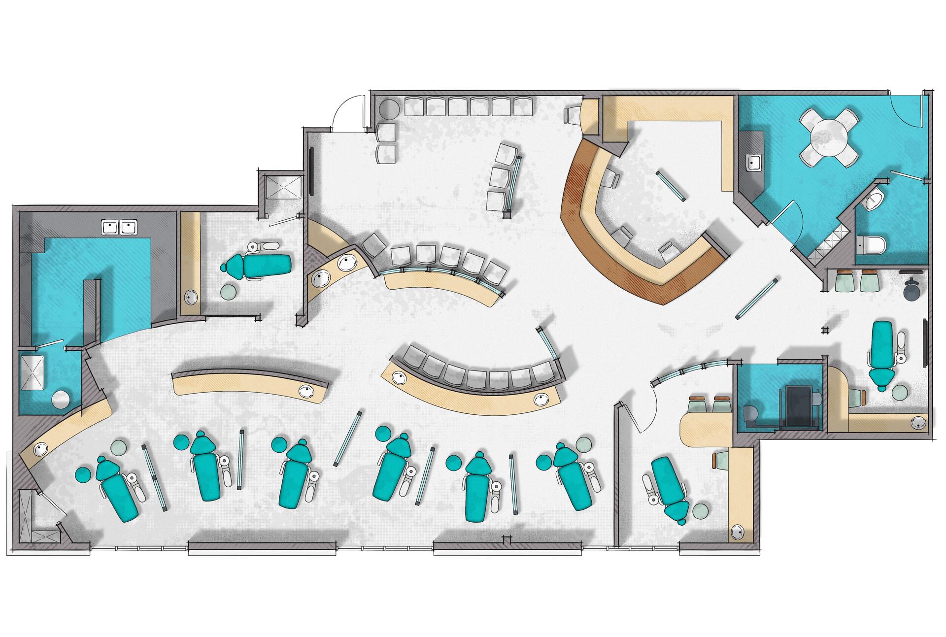 Artstation Dental Clinic Floor Plan Rendering Alberto Talens Fernandez