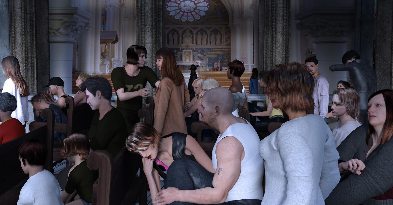 Two test DAZ 3D people sanctuary