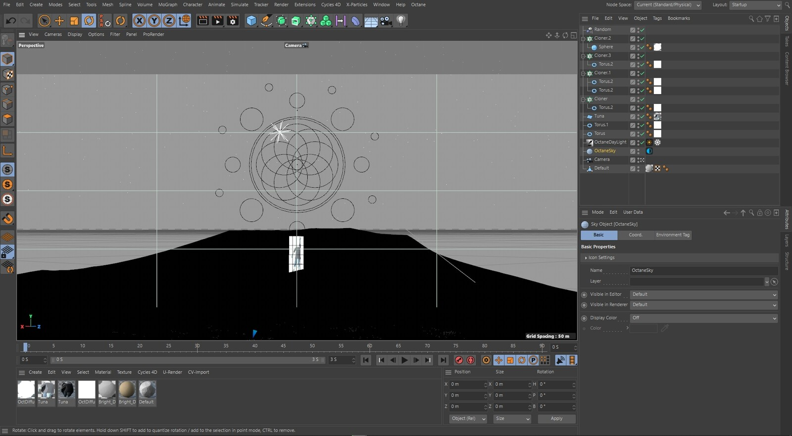 Scene in Cinema4D (note it's black... because the geometry there is super dense).