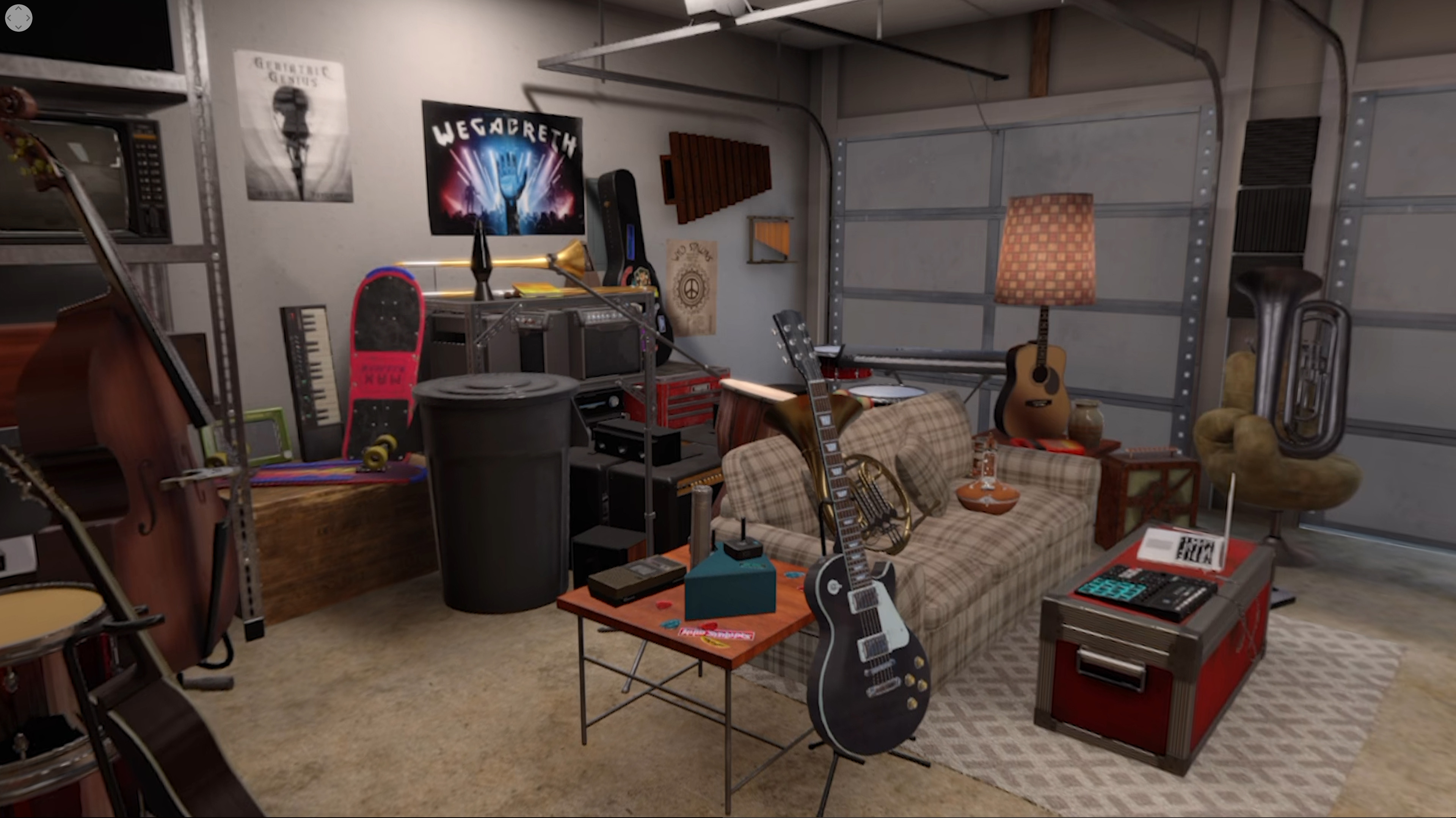 Created several props for the Garage level, including the sitar, guitars, and poster signage.