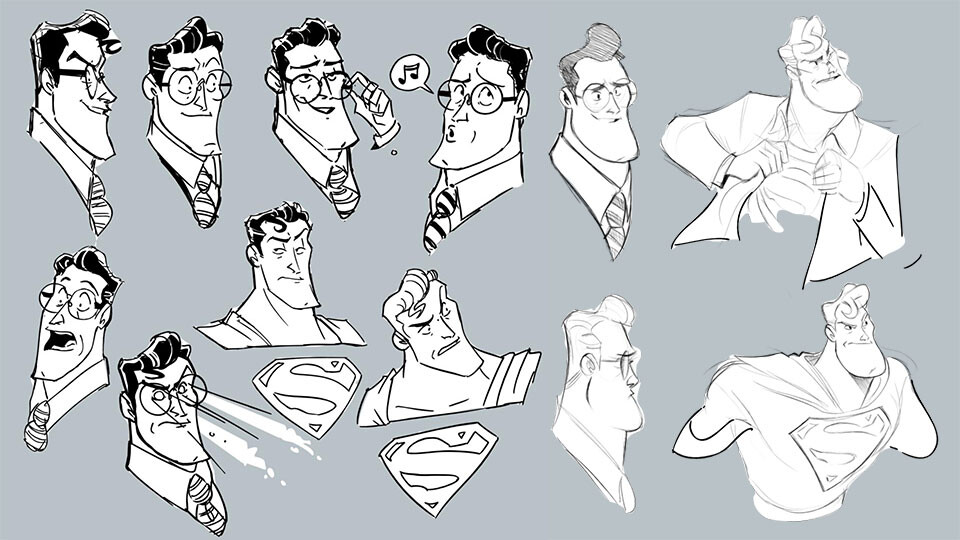 When doing a superhero story, I always start off by doodling the gold standard, Superman.