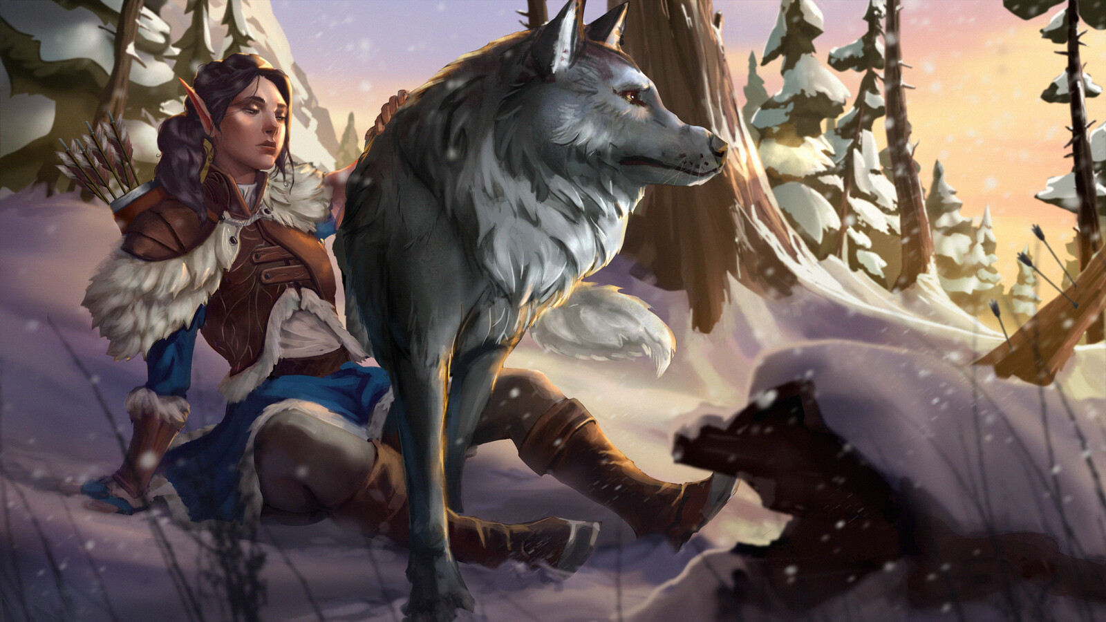 Huntress with a wolf