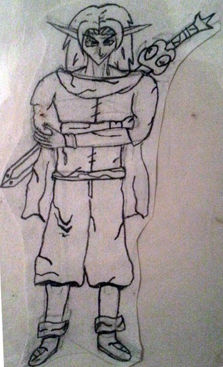 Old drawing of Yenen in his garb with his weapon of choice