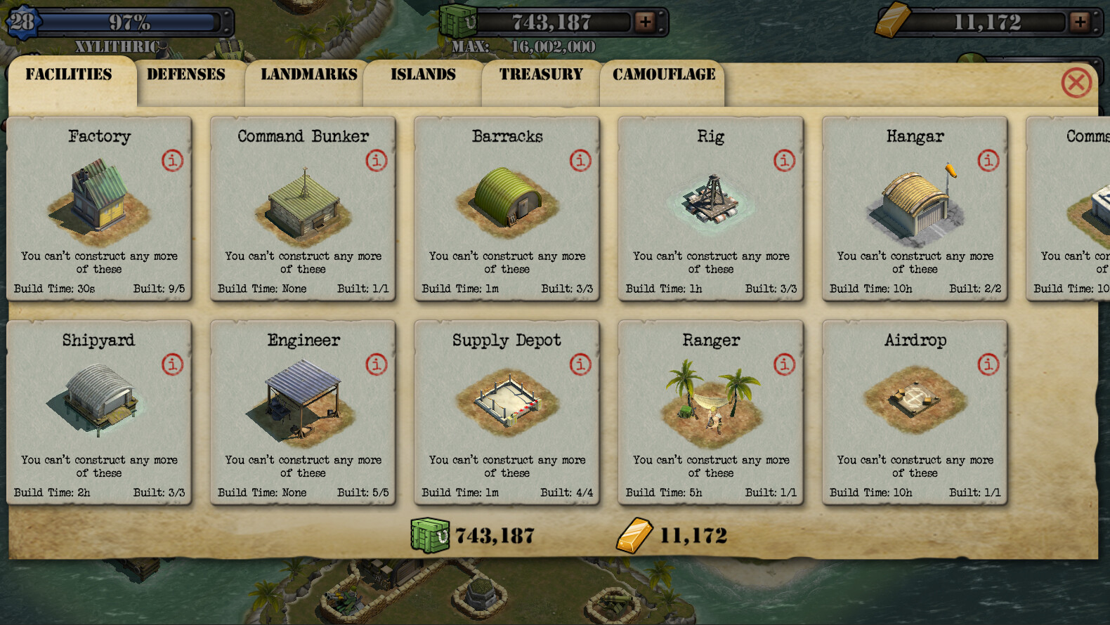 Screen cap of Game from V2 HD version showing the results of building concepts I initially made as well as the UI art I created.