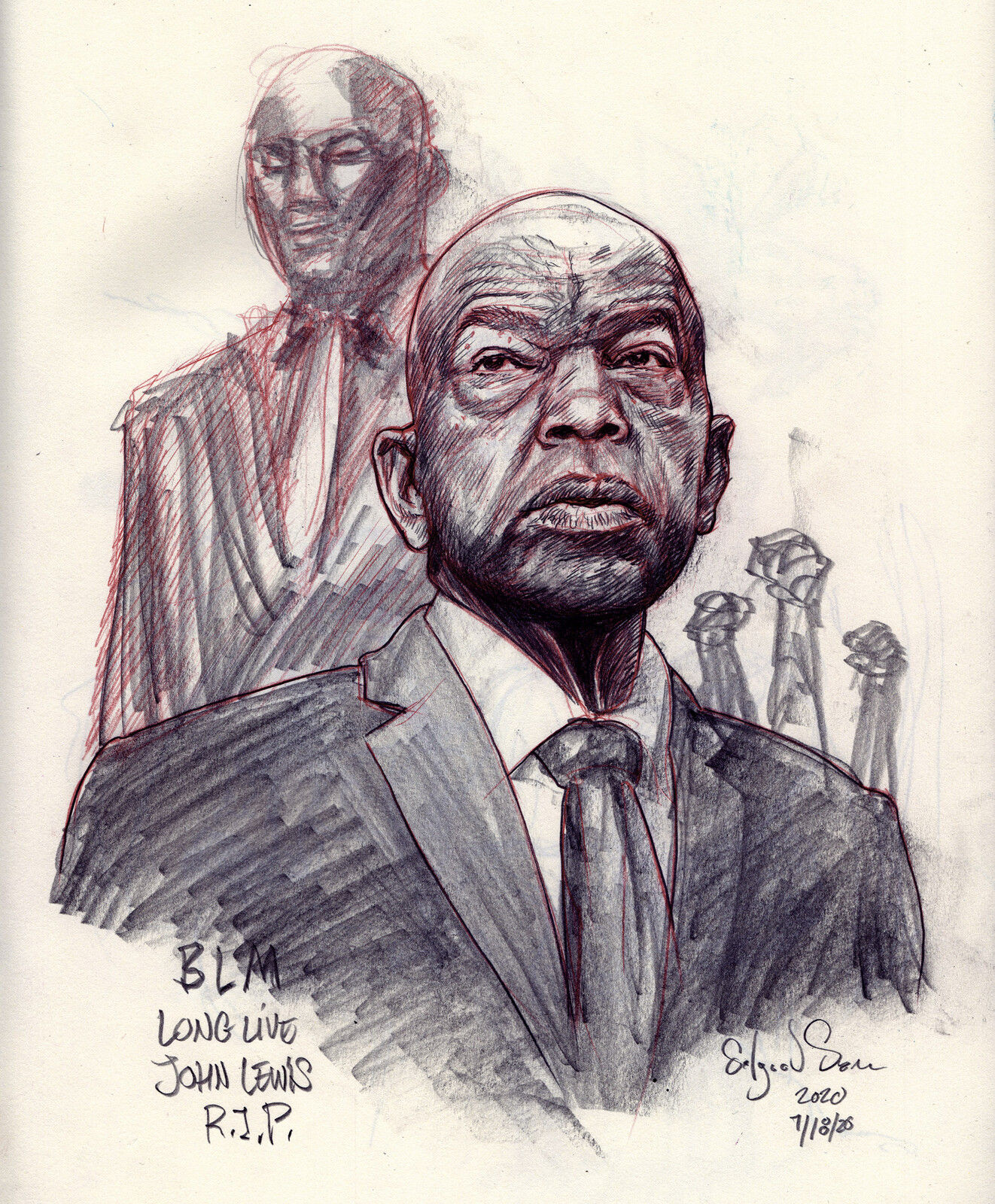 John Lewis sketch in graphite and col-erase.