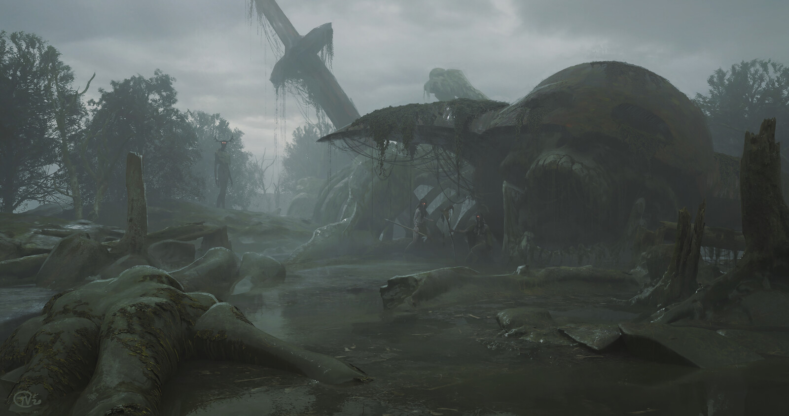 The Crystal Corruption Matte Painting - The Skeleton of the Giant