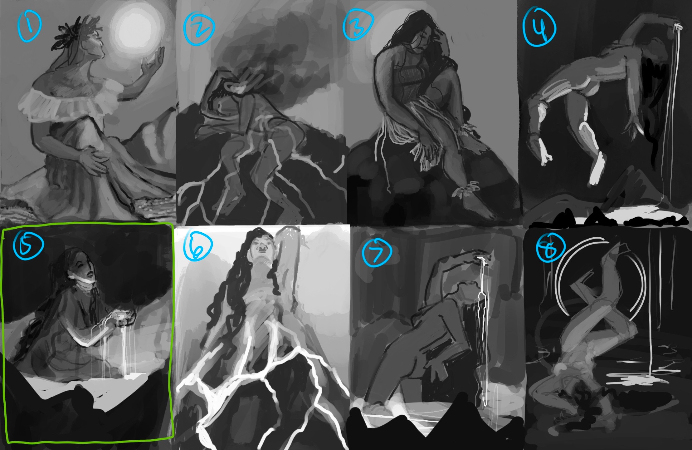 Thumbnails! The concept I picked is outlined in green.