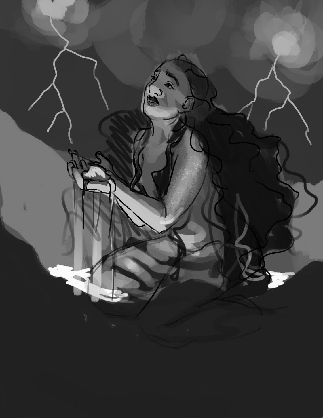 This is the quick black and white paintover I did after I selected the thumbnail I wanted to push forward with.