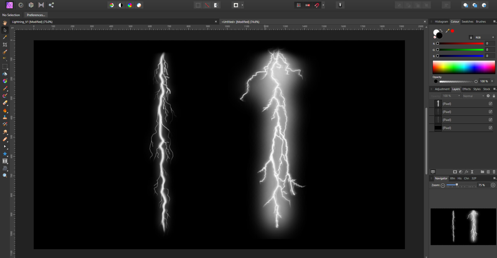 Two lightning bolts painted with my old Wacom tablet
