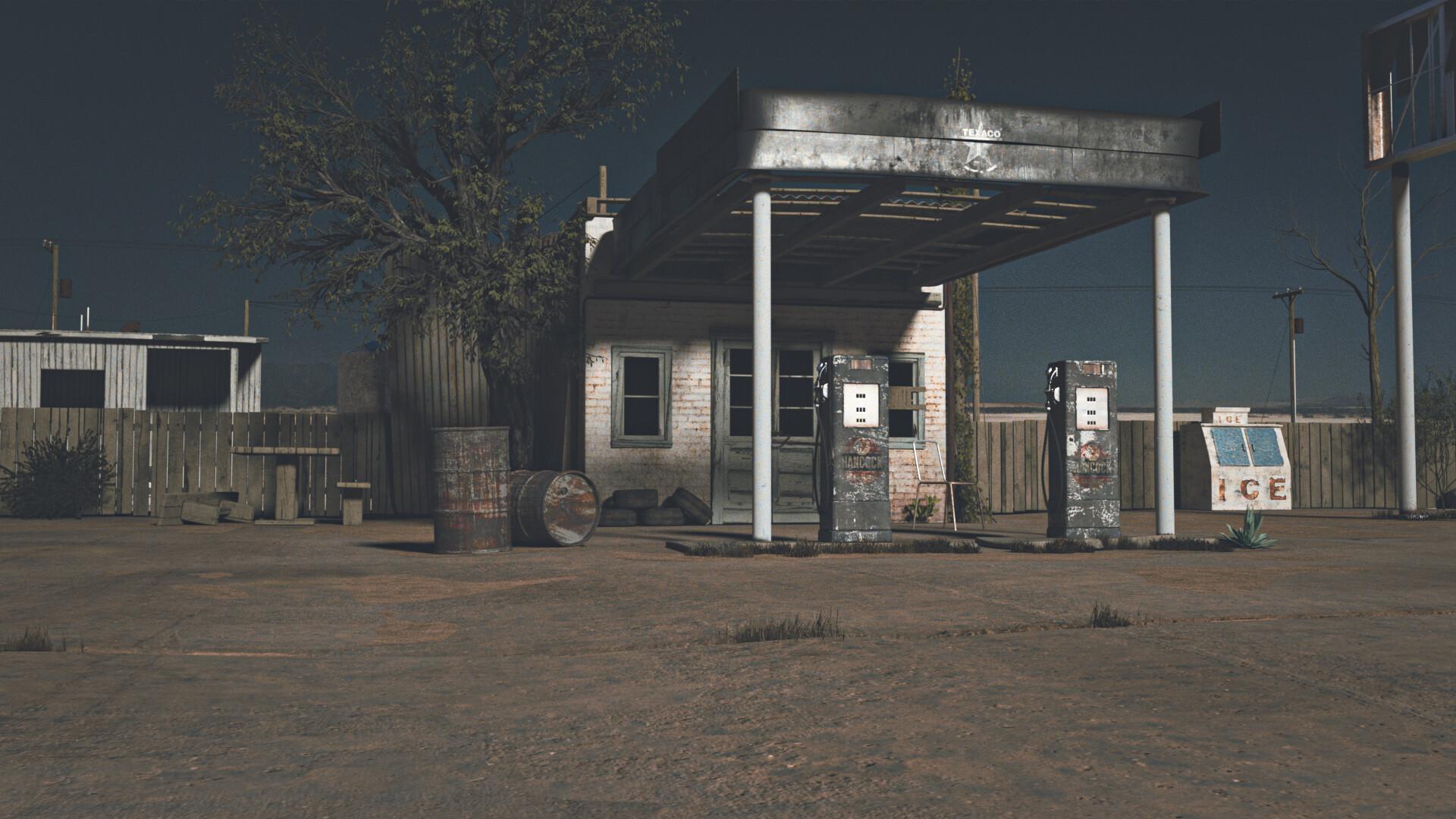 Artstation Abandoned Gas Station Sergio P Rodriguez