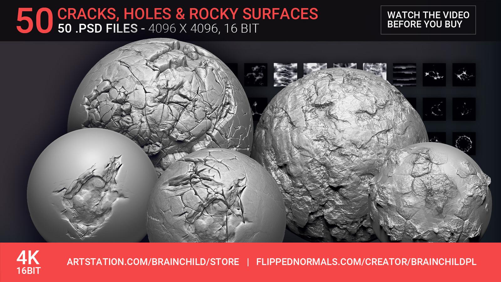 Grab it here  https://artstn.co/m/3rmk |  VOL. 2 - 50 Damage, Cracks, Holes | 50 Alpha Pack | 50 Alpha Textures | Zbrush, Blender & Substance