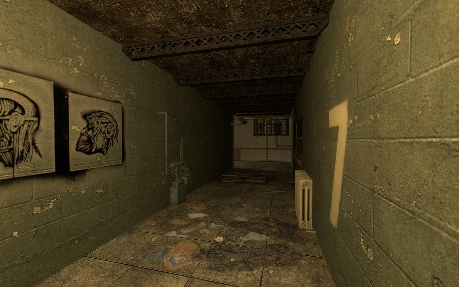 The intro hallway was designed to show the main goal of the level to the player as soon as the level began.