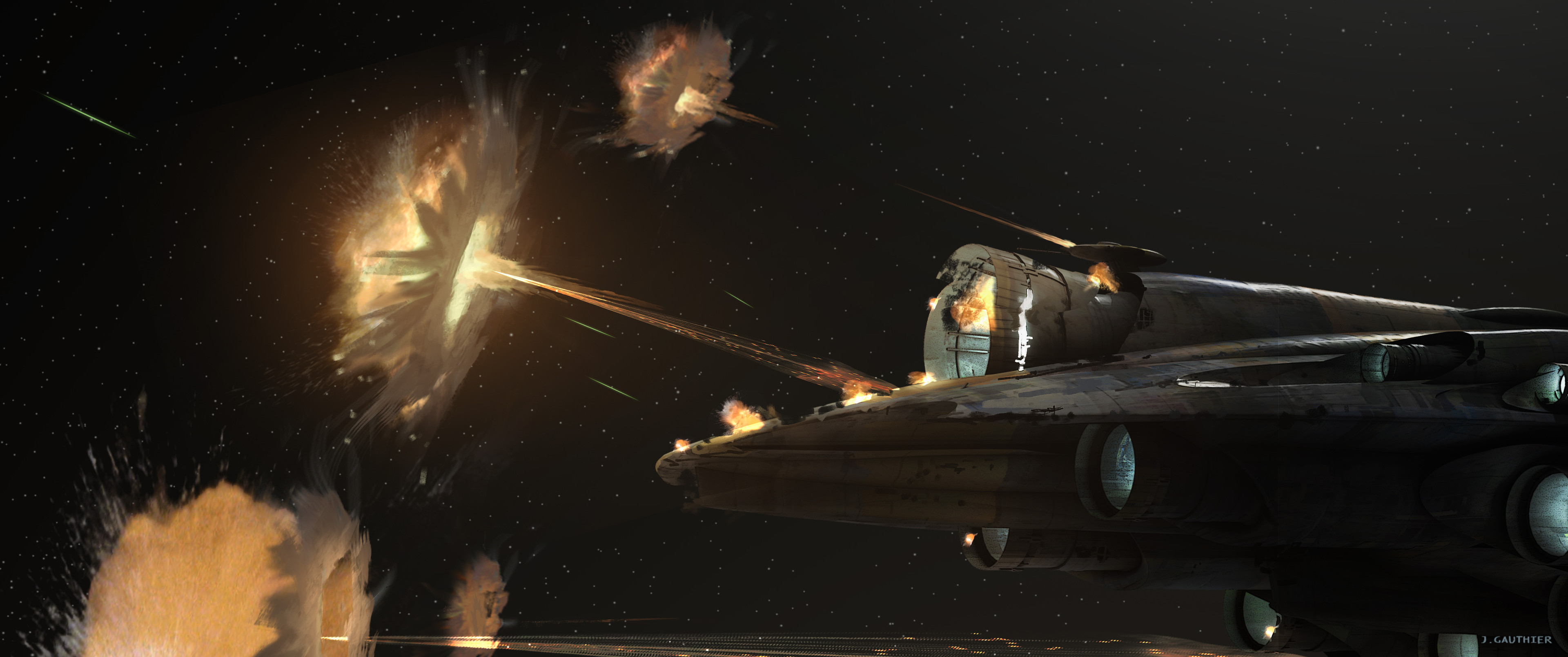 One of the many exploration sketches we did to figure out how the force shield would look during the attack