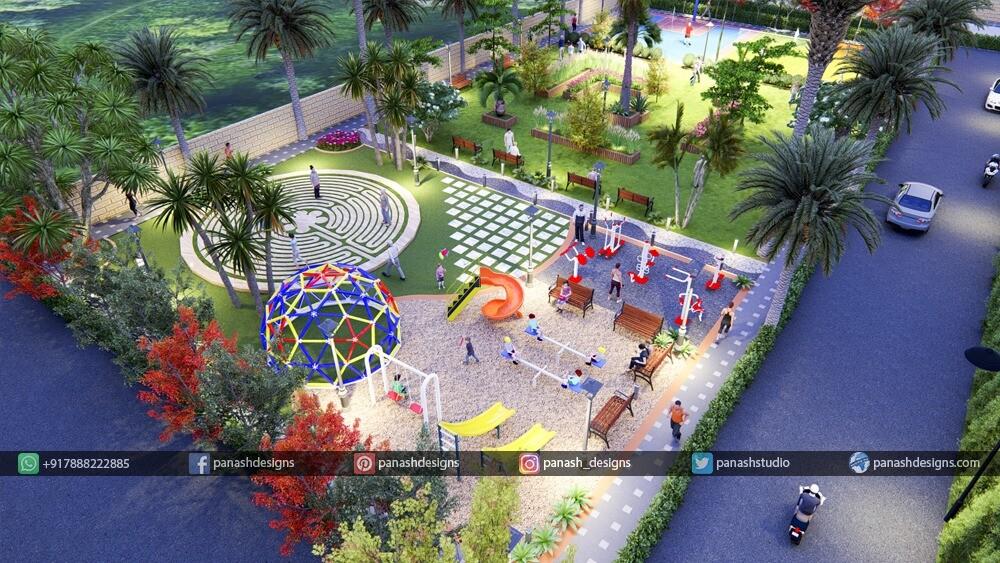 Panash Designs Multi Sport Playground Garden Design By Panash Design Studio
