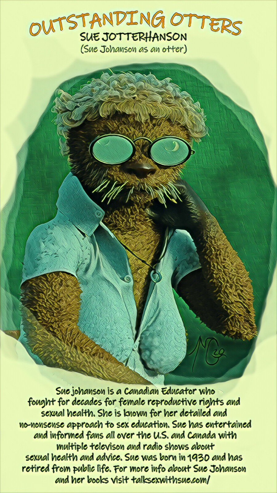 Outstanding Otters: Sue Jotterhanson - Mike Gagnon, 2020, Digital Mixed Media