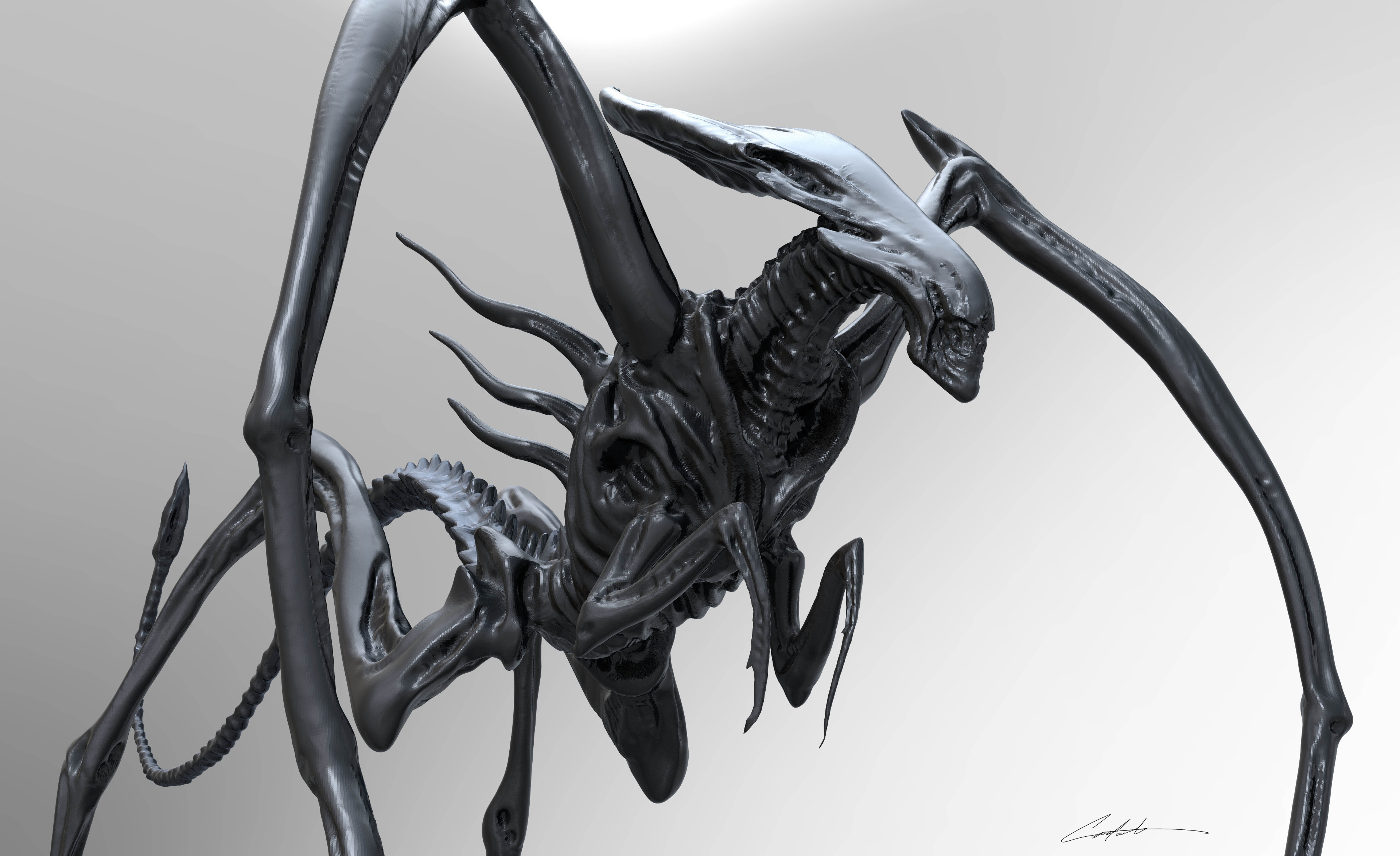 """AvP Alien Queen early exploration """"updated sketch from 2001 to 3D"""""""
