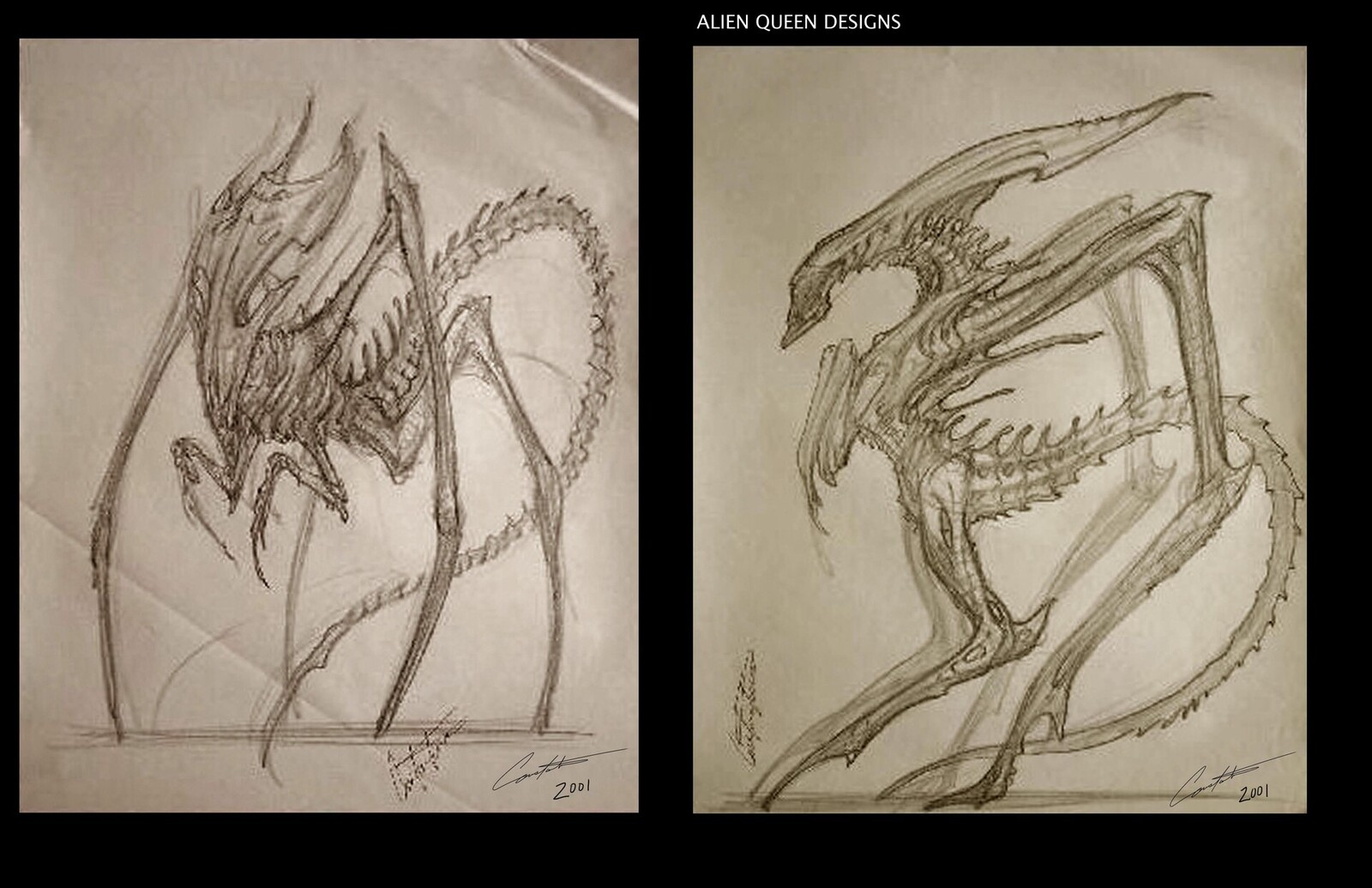 AvP Alien Queen sketches from 2001 done at Steve Johnson's EdgeFX