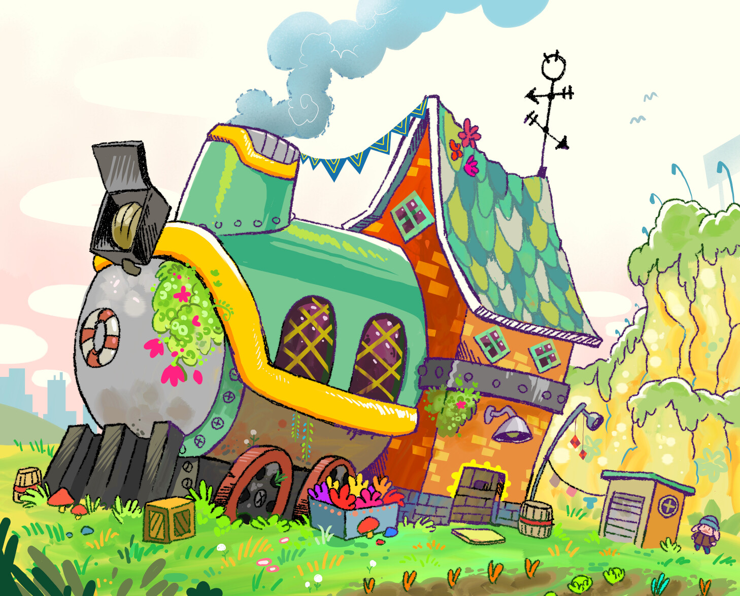 Saskia's house. Which is technically a broken down train on the outskirts of town that she moved into one day cause nobody said she couldnt