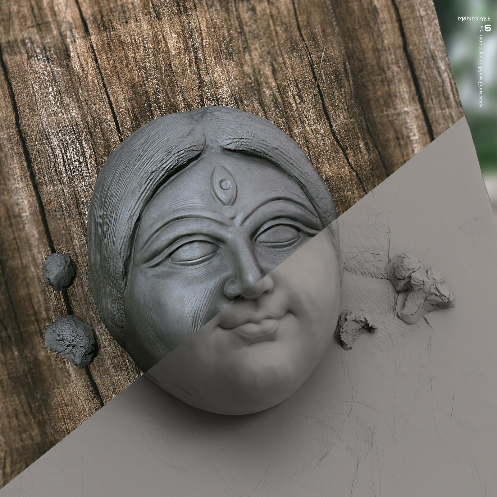 Mrinmoyee Digital Sculpture Tried to make a form of traditional clay Sculpture (blocking). Inspired by Traditional Sculpting in Kolkata Kumortuli, India. Dedicating this Sculpture to Goddess Durga.