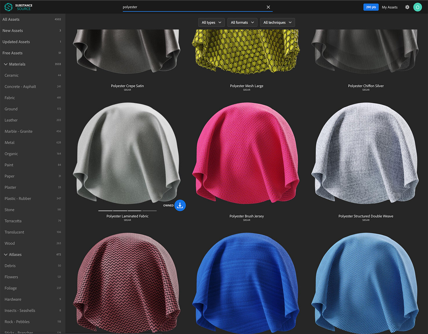 Substance Source amazing library of materials for 3D fashion. A game changer!
