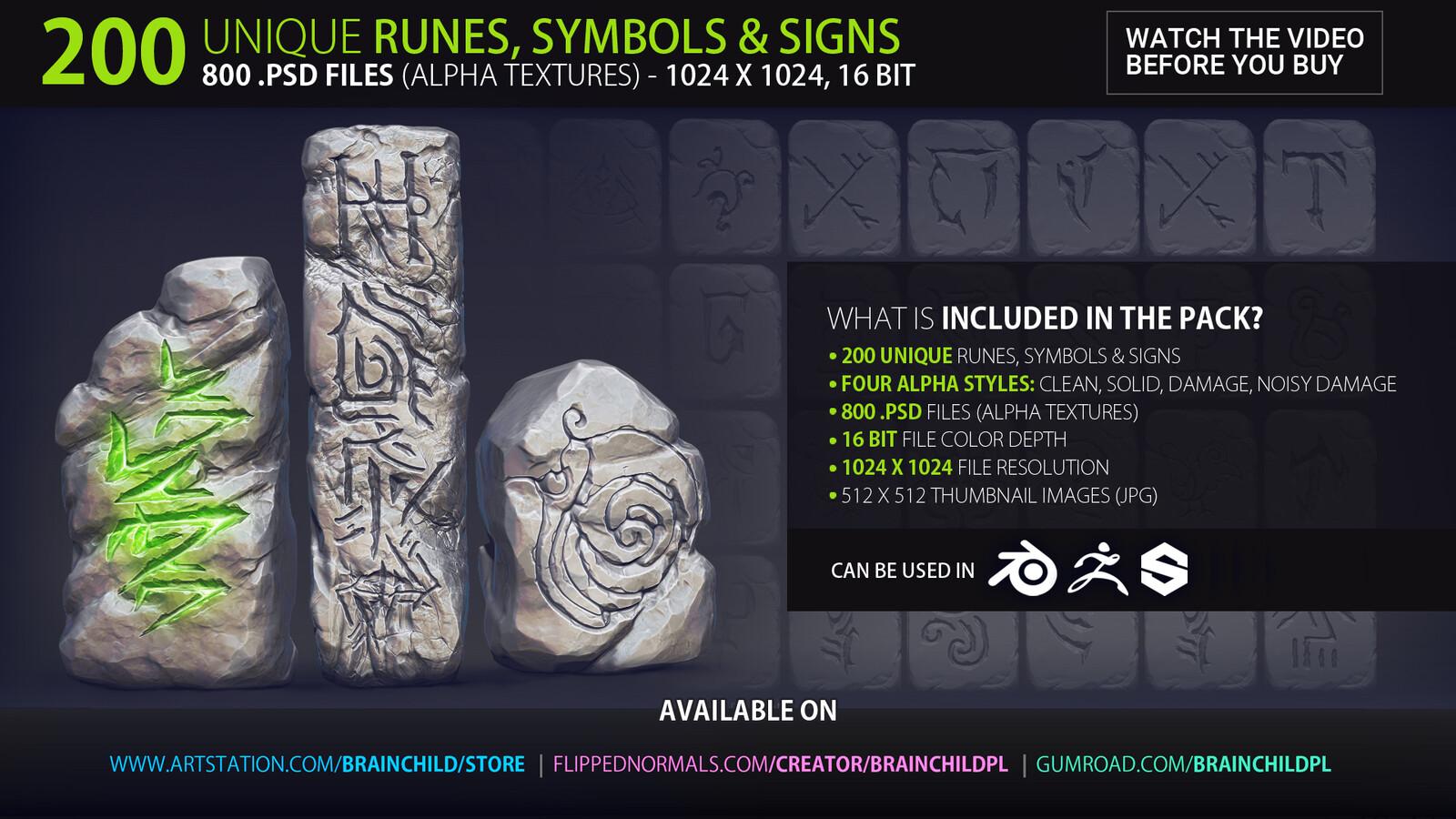 ----------  Download https://artstn.co/m/baRk ---------- VOL. 2 - 200 Runes, Signs & Symbols (800 Alpha Textures) Alpha Pack   Alpha Textures   Alpha Maps   Alpha Brushes   Alphas   Zbrush, Blender, Substance