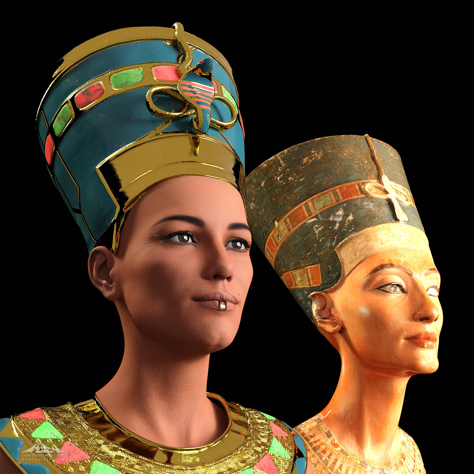 Second try, to come closer to the original: Neferet-iti and her bust, the original bust of Nofretete