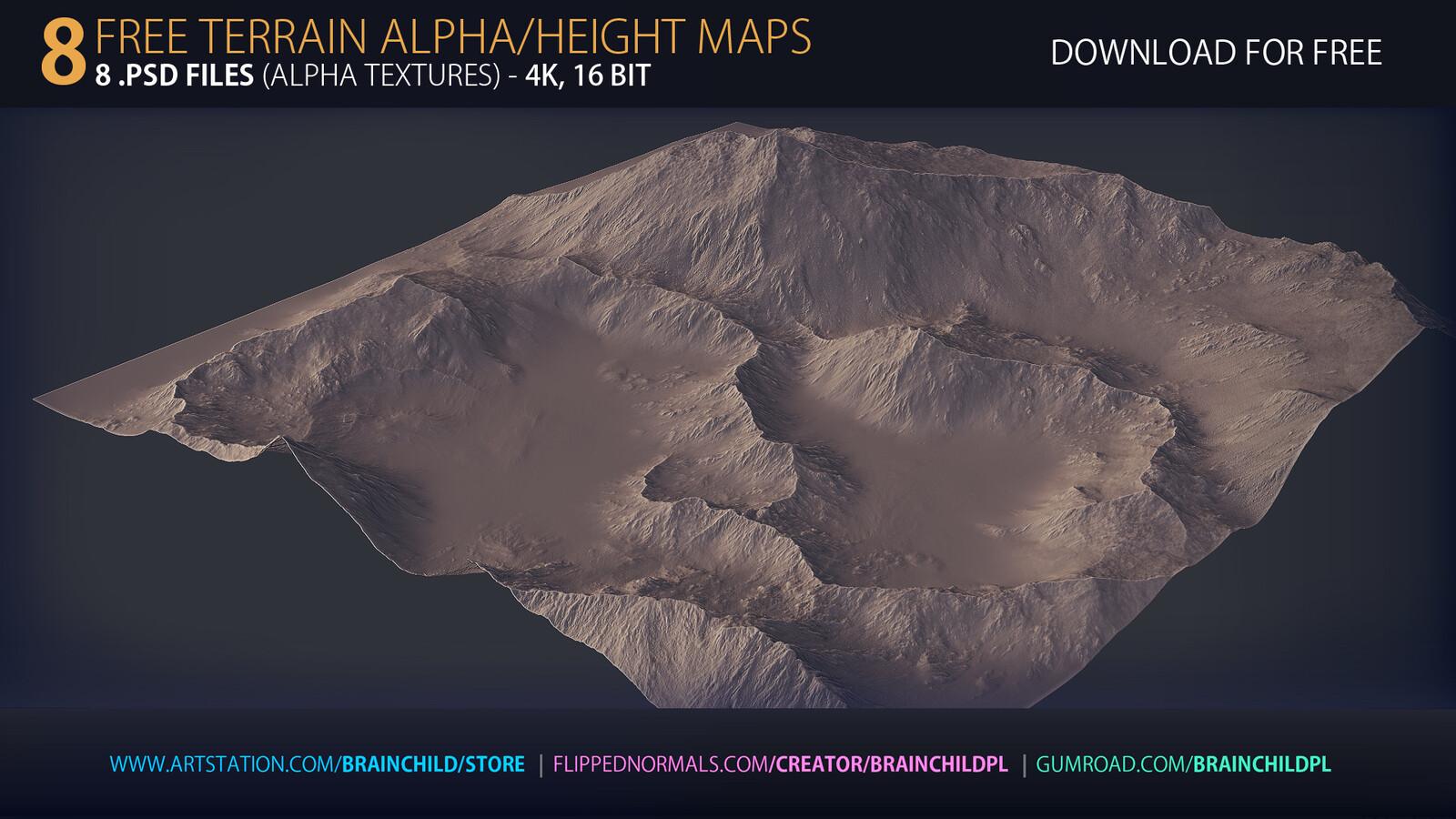 Download For Free https://www.artstation.com/brainchild/store | FREE - 8 Terrain Alpha Textures | Terrain Height Maps | 4k, 16bit