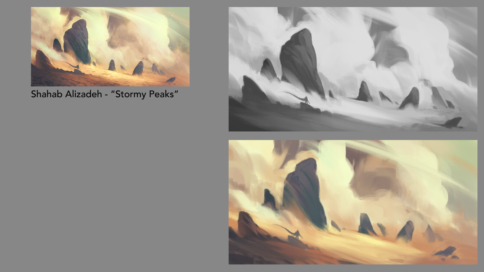 "Grayscale/color study of ""Stormy Peaks"" by Shahab Alizadeh"
