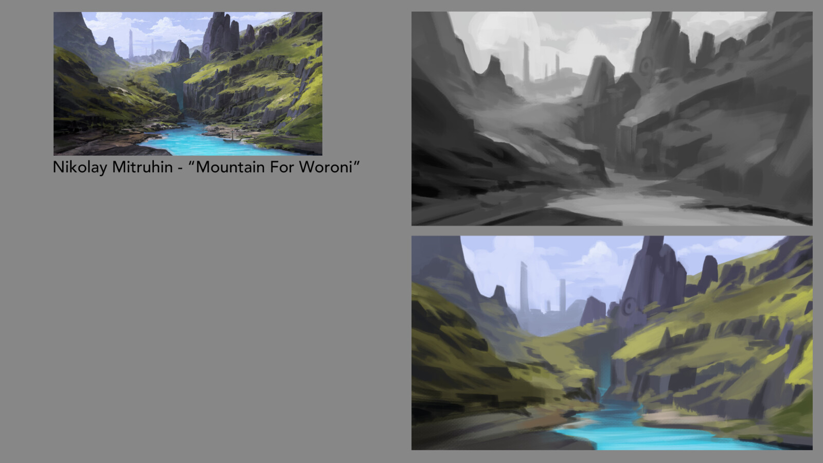 "Grayscale/color study of ""Mountain For Woroni"" by Nikolay Mitruhin"