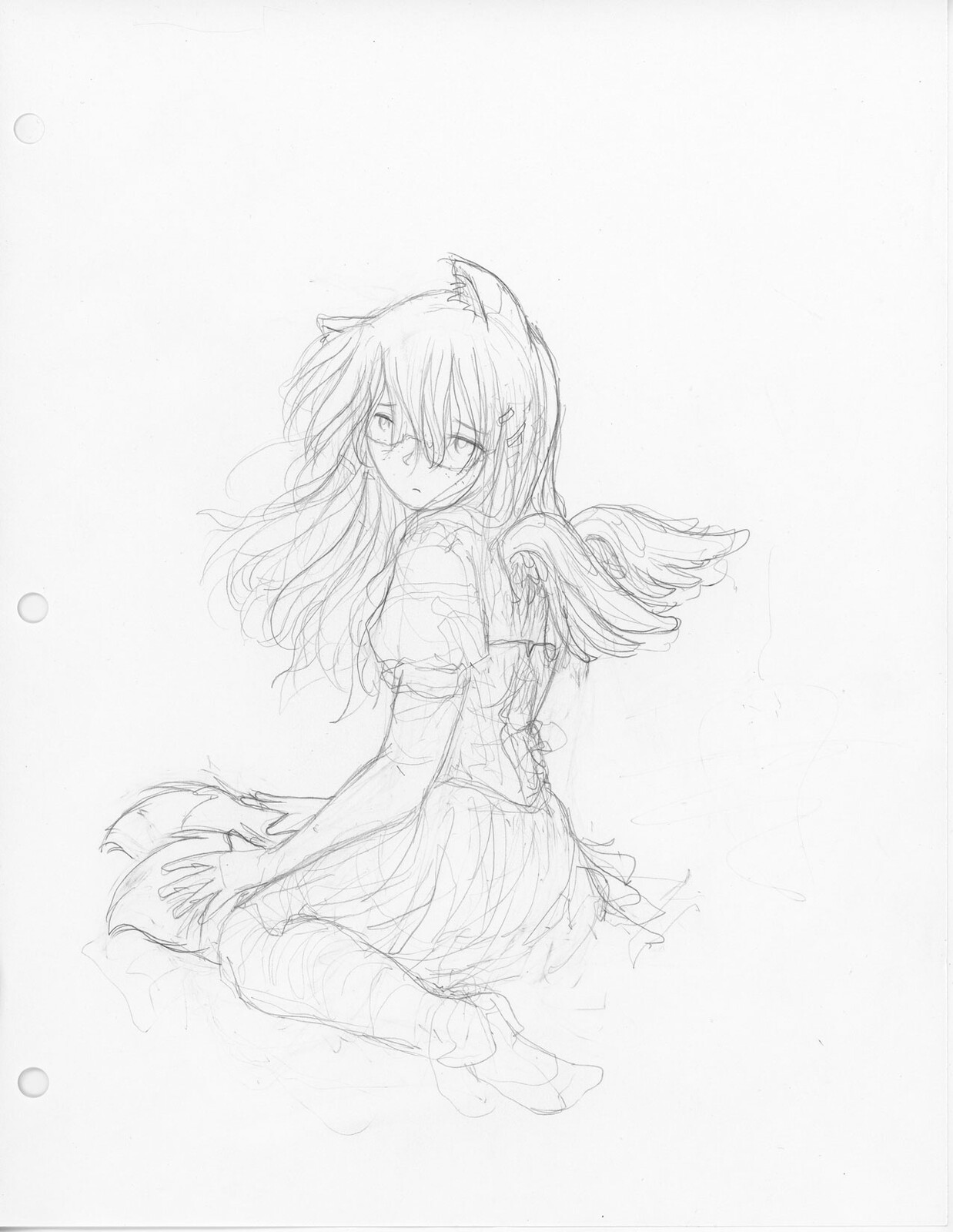 Initial rough sketch, Pencil (HB) on HP Bright White Inkjet Paper