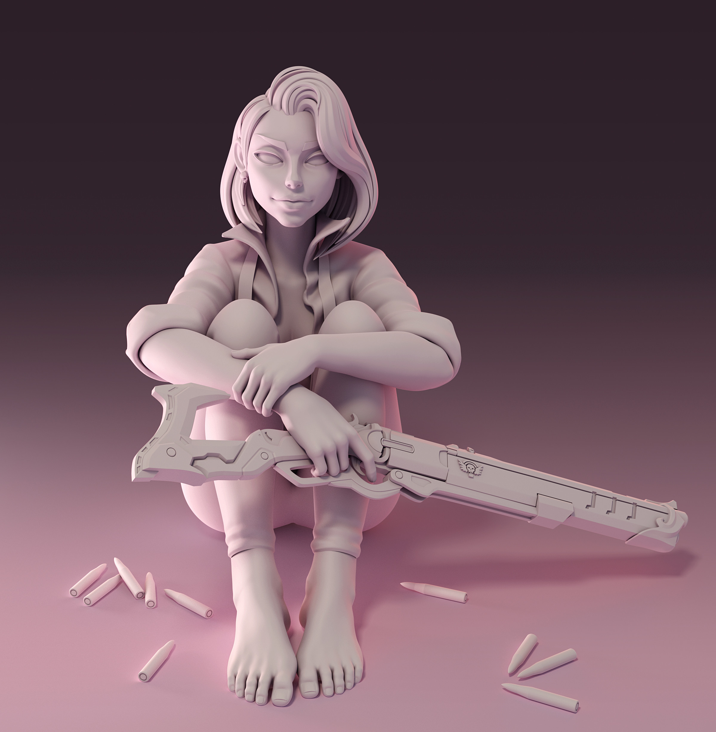 Clay render done in Cycles (Blender 2.8)