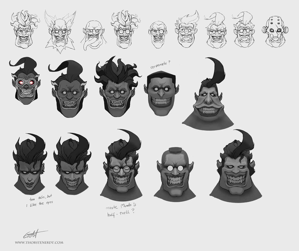 early concepts - exploring some faces for a  scary Mundo