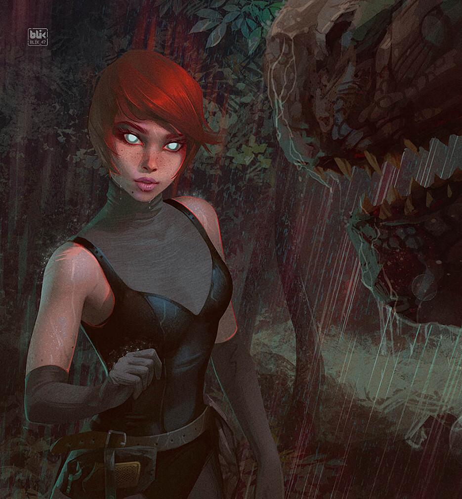 Hey, my new art is here. Regina from Dino Crisis, fanart.