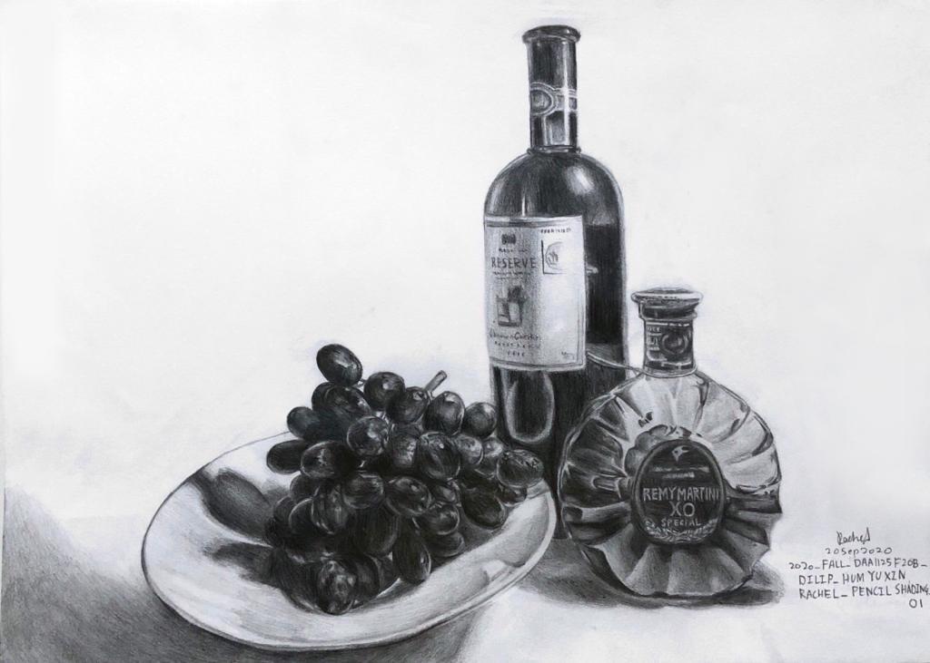 Artstation Wine Bottles And Fruit Pencil Shading Rachel Hum