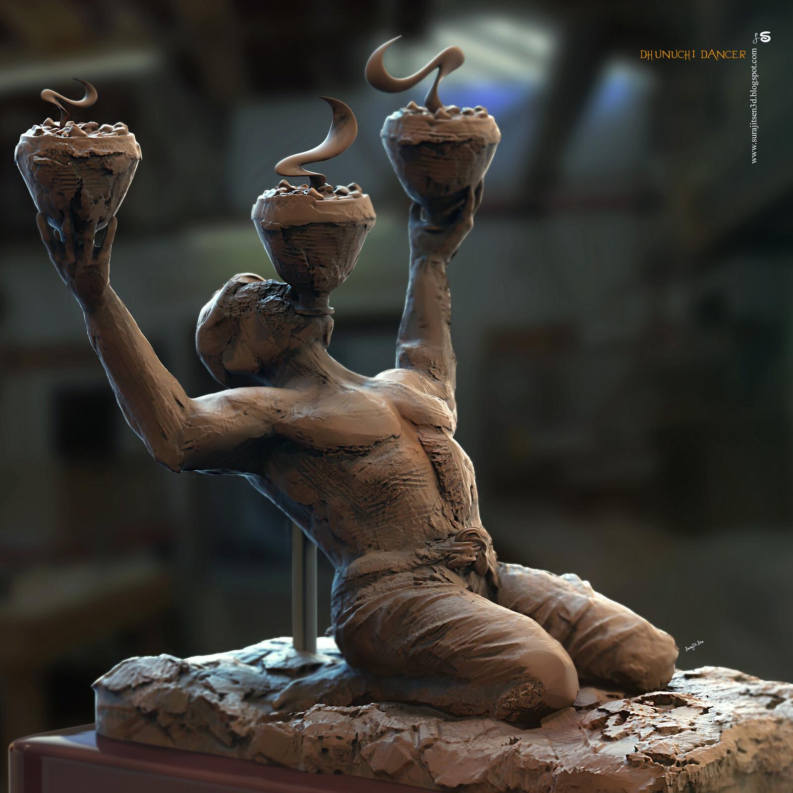 Dhunuchi Dancer Digital Sculpture I tried to make a quick pose of a Dhunuchi Dancer in this sculpt…….