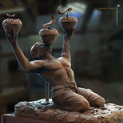 Surajit sen dhunuchi dancer digital sculpture surajitsen sept2020aa