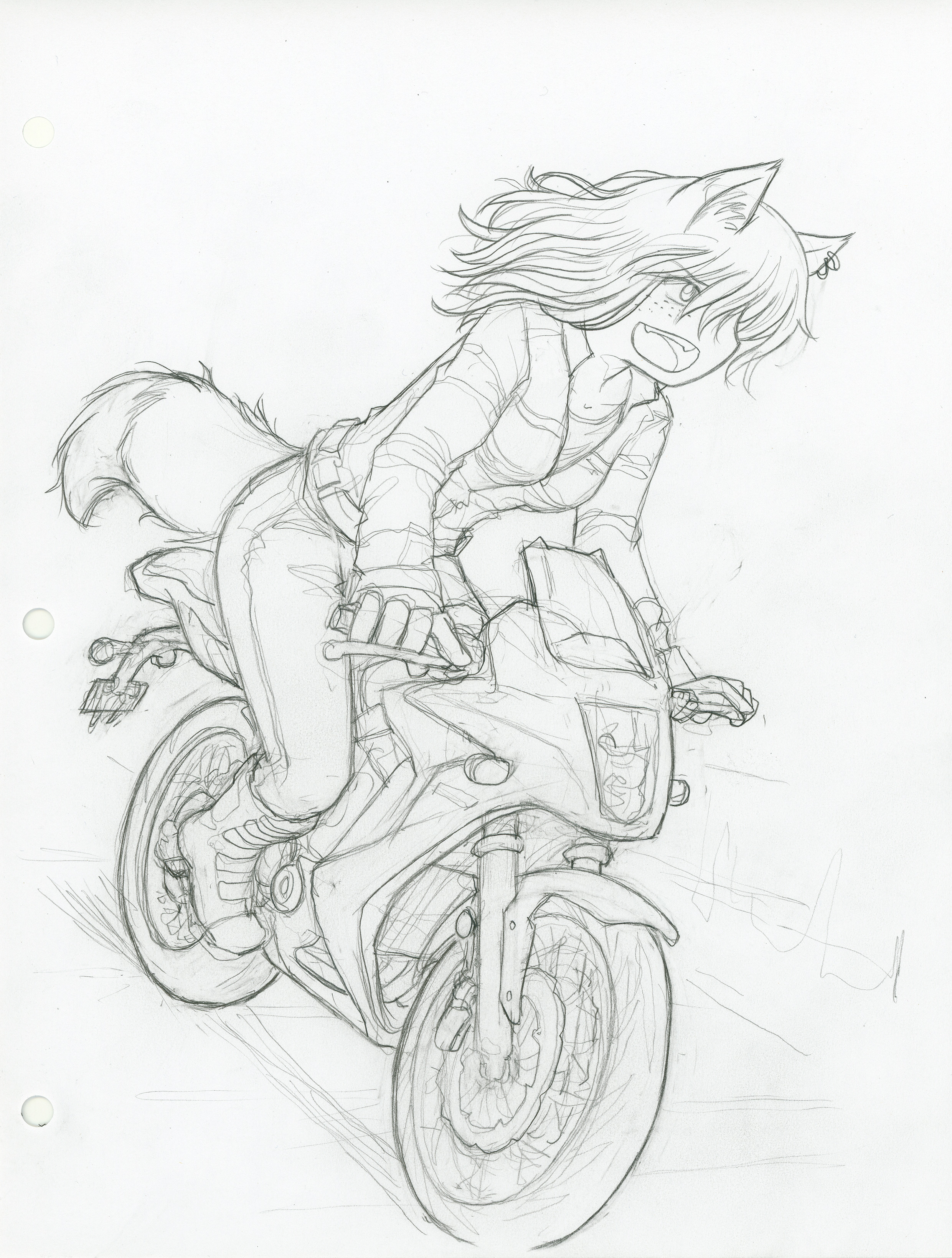 Irresponsible mugi with no helmet :P  Had to add a helmet. :)