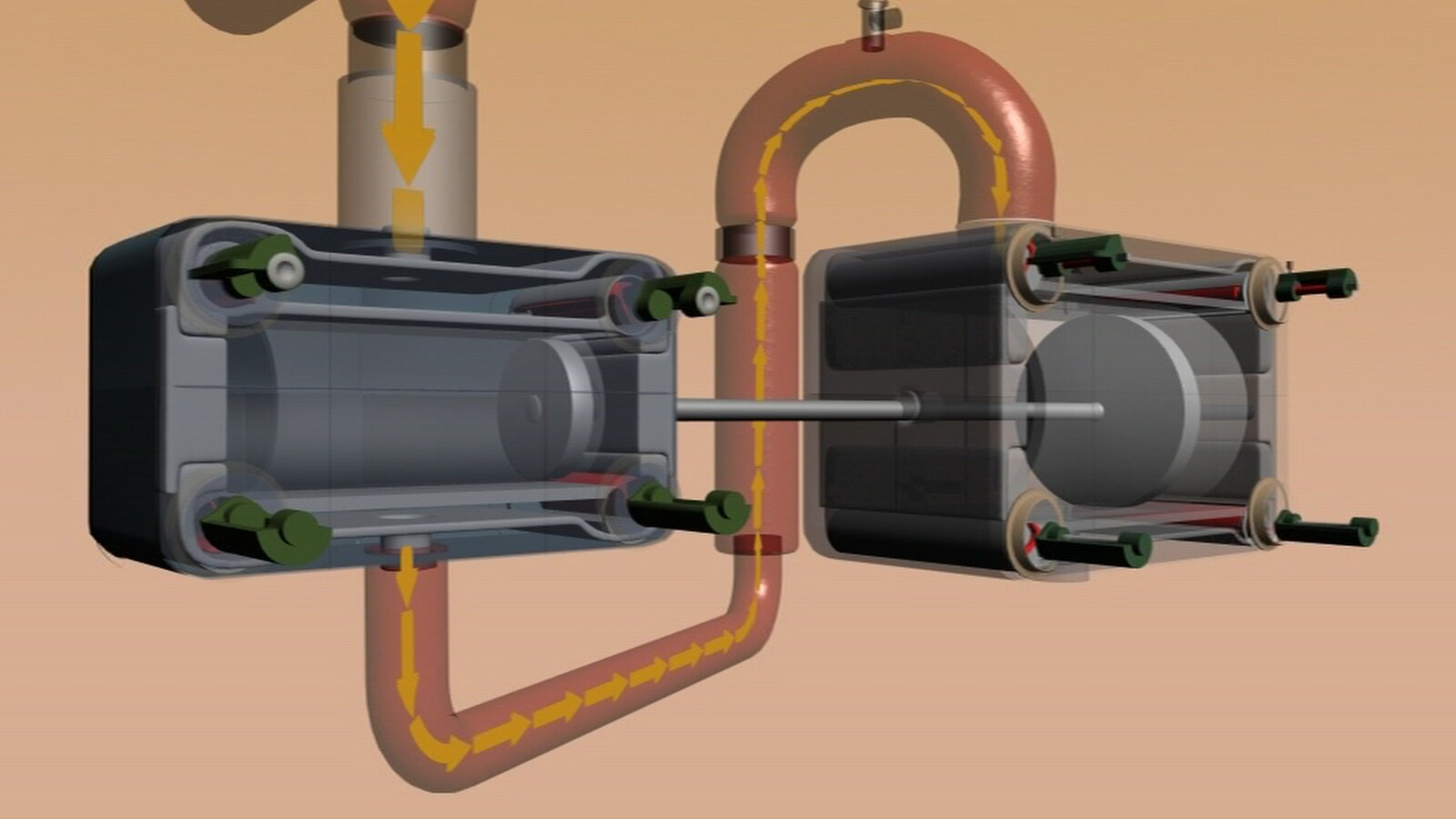 High and Low Pressure Cylinders cutaway.