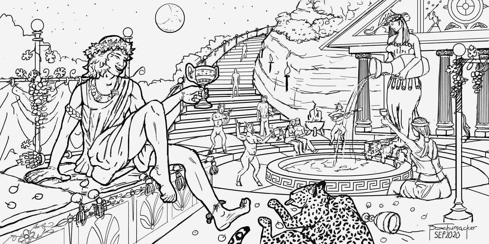 Dionysus - God of Wine (drawing)