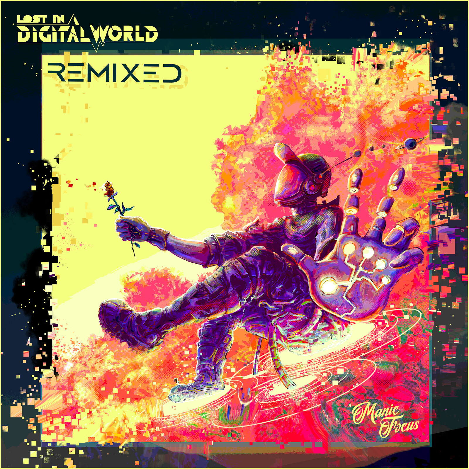 Lost in a Digital World album cover art remix for Manic Focus