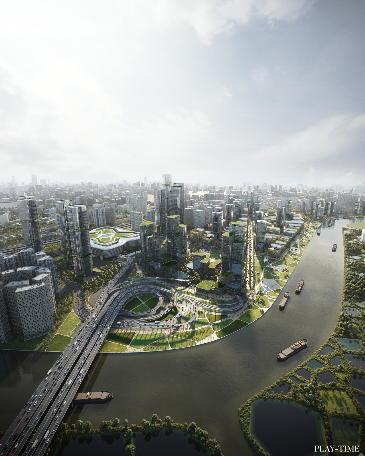 Huanggang Masterplan in Shenzen by  EMBT Architects. Image by Play-time