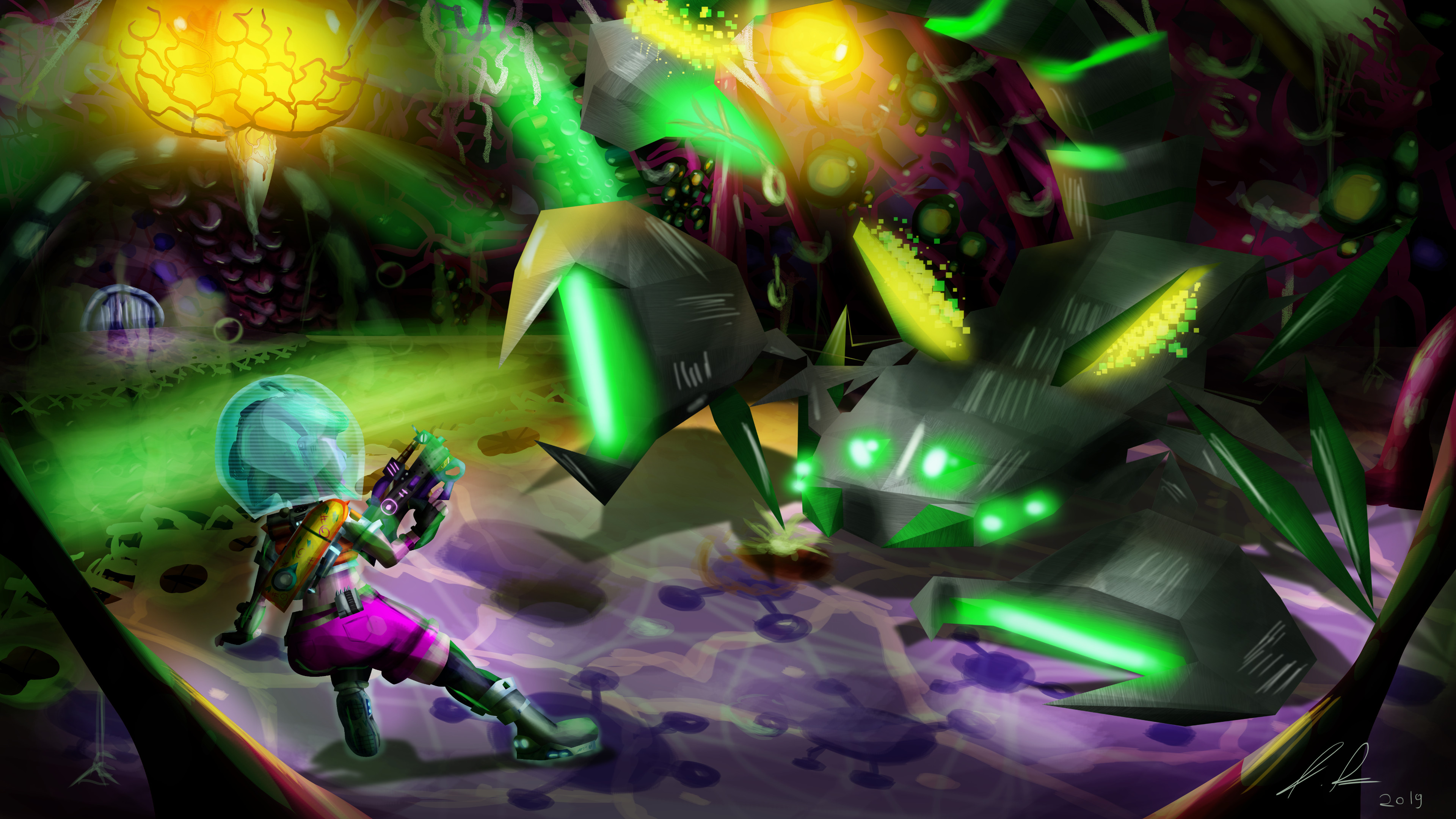 Fighting a giant polygonal scorpion inside the stomach of some alien monster.