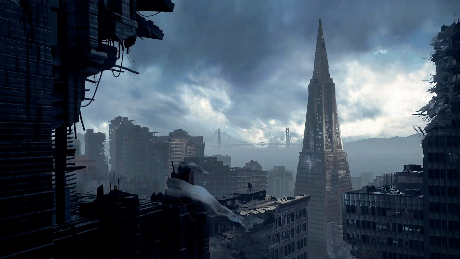 Full Modeling / Texturing: Foreground Building, Transamerica Pyramid; Scene Assembly, Matte Painting